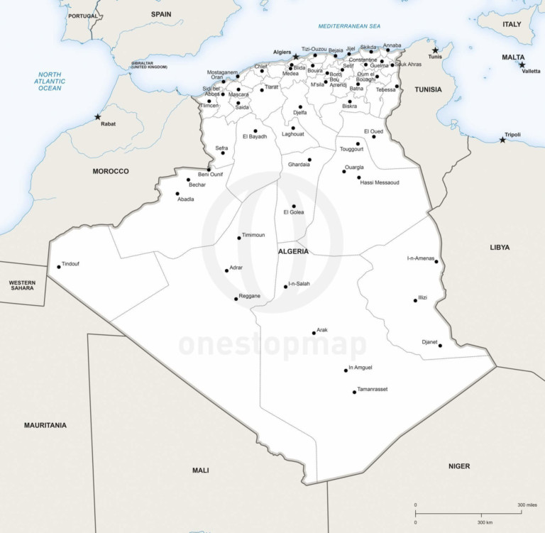 Vector map of Algeria political