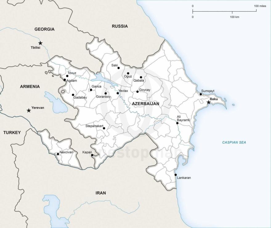 Map of Azerbaijan political