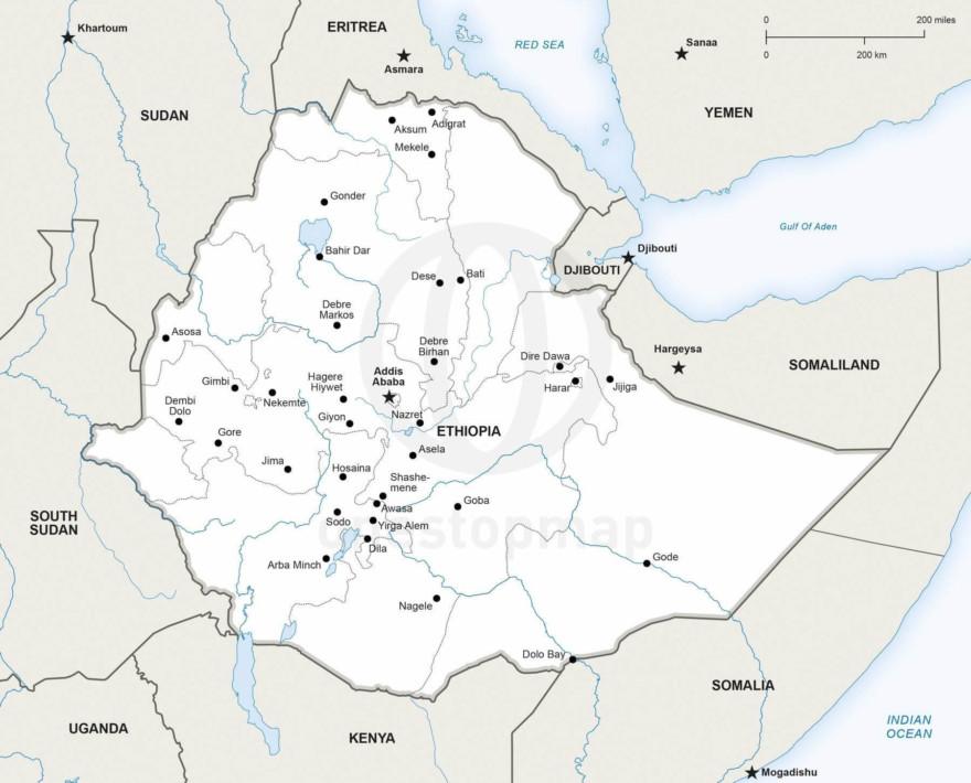 Map of Ethiopia political