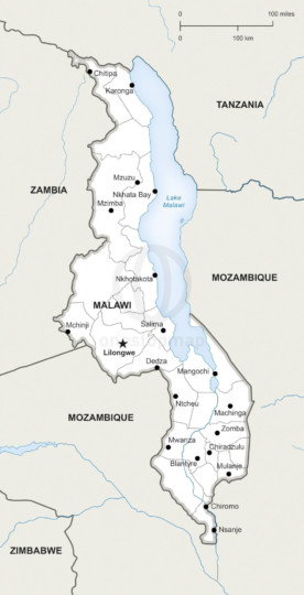 Map of Malawi political