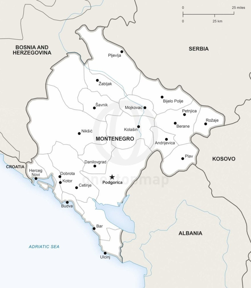Map of Montenegro political