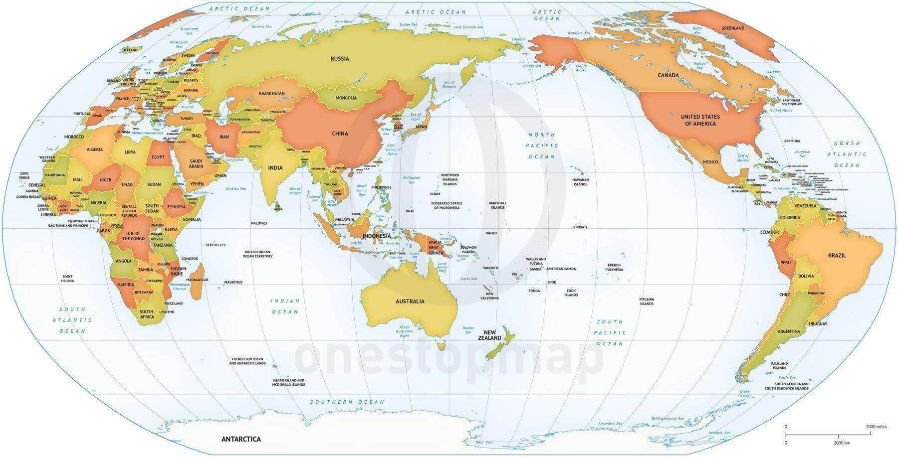 Map of World political Robinson Asia-Australia centered