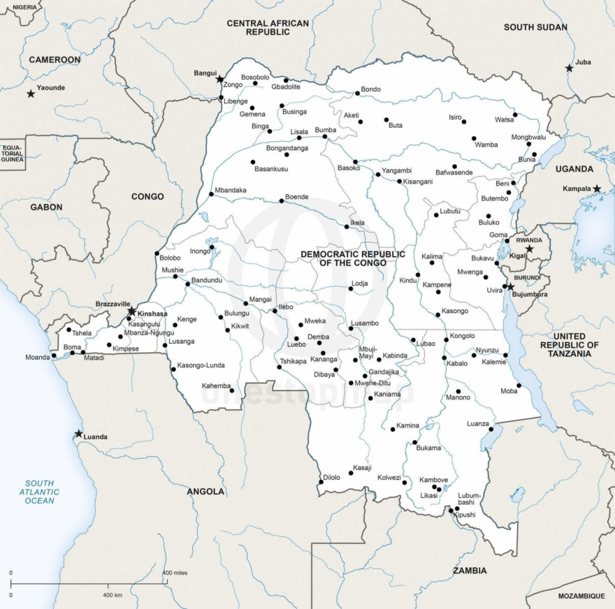 Map of Democratic Republic of the Congo political