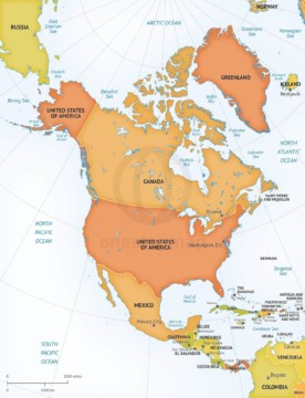 Map of North America continent political