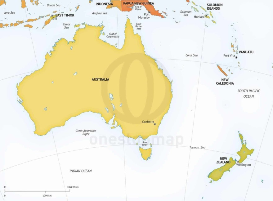 Map of Australia - New Zealand political