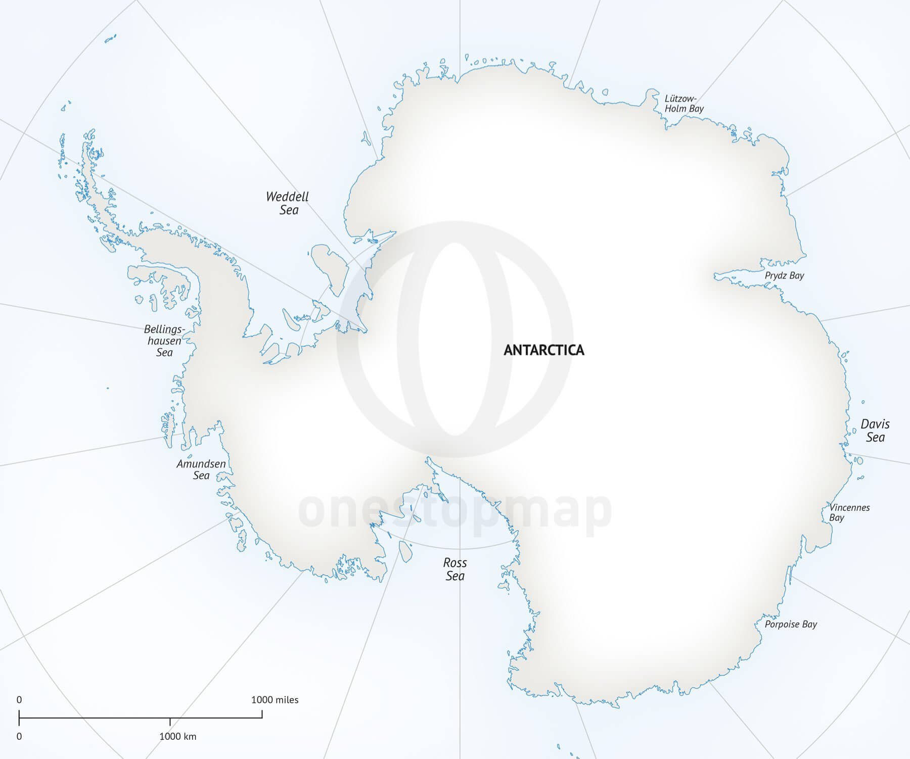 Map of Antarctica continent political