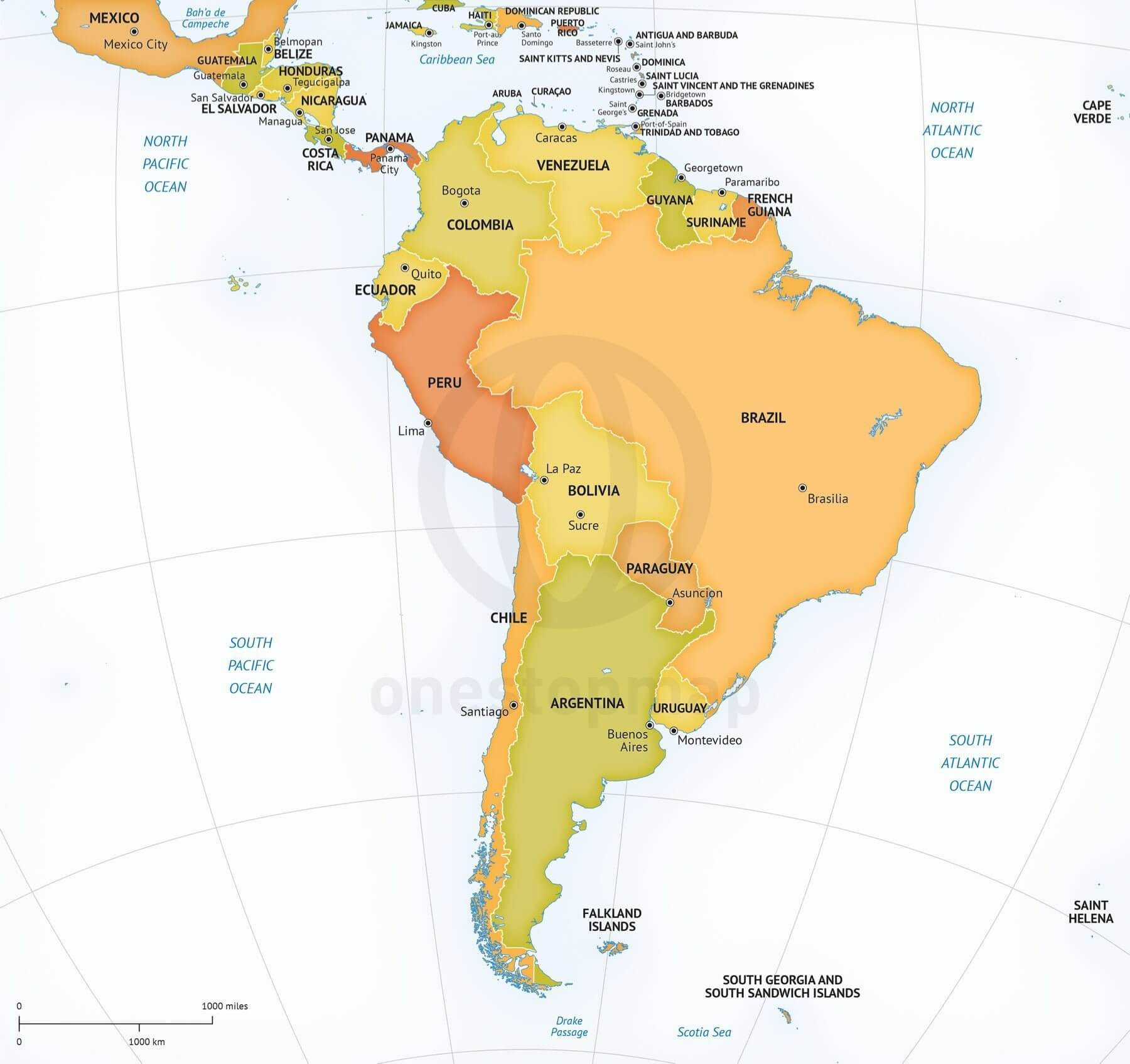 Vector Map South America Continent Political One Stop Map