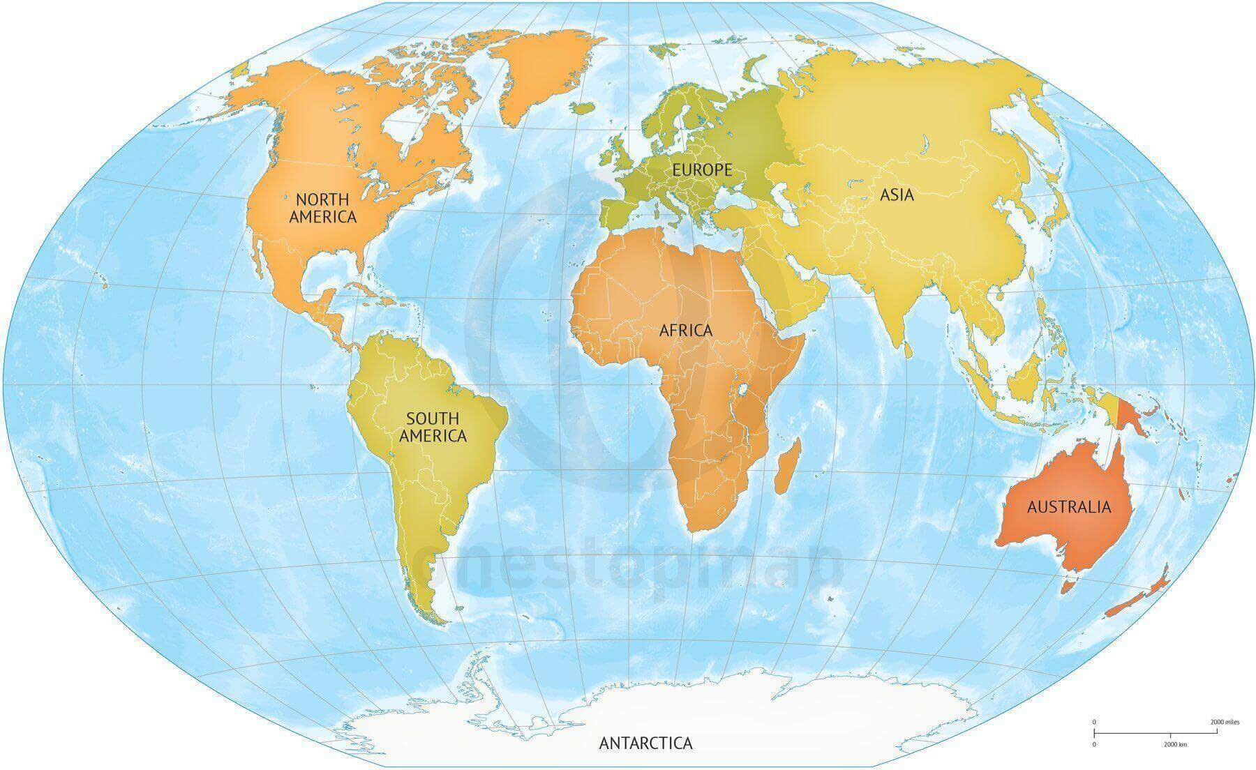 Map of World continents bathymetry