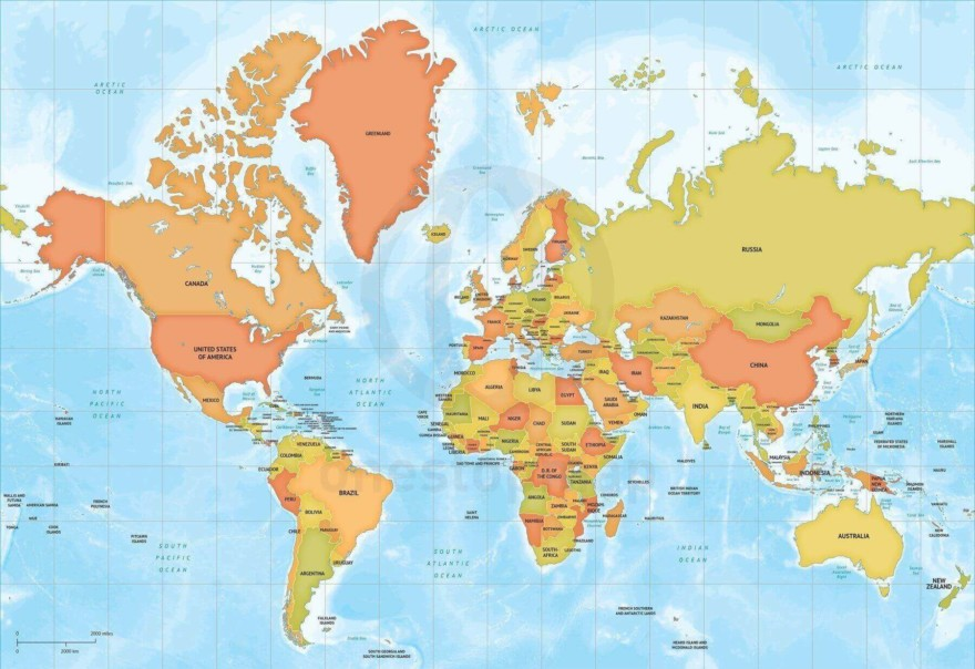 Map of World political bathymetry Mercator Europe-Africa centered