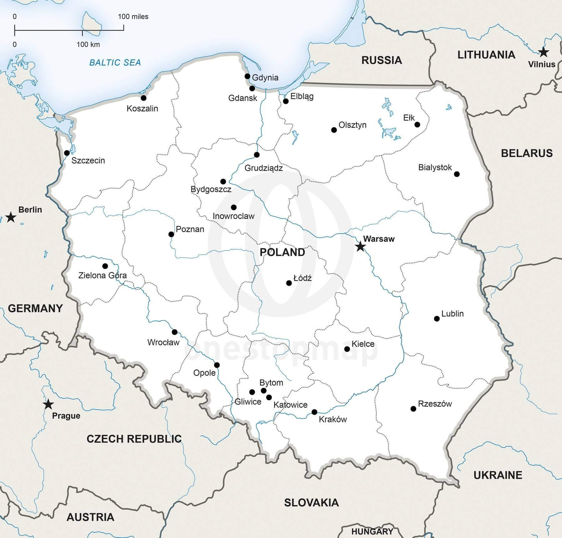 Map of Poland political