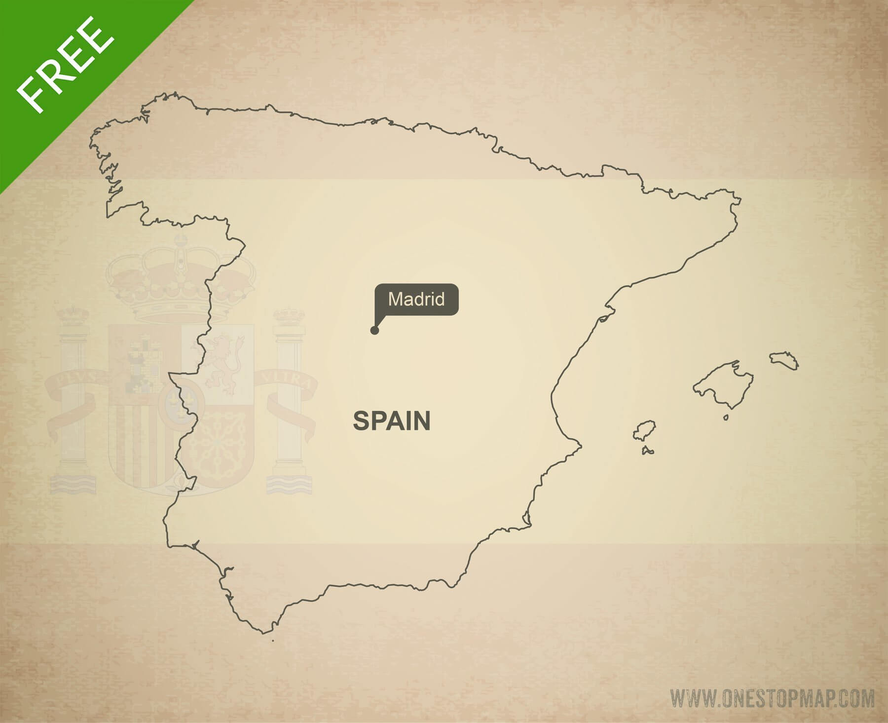 Map of Spain outline