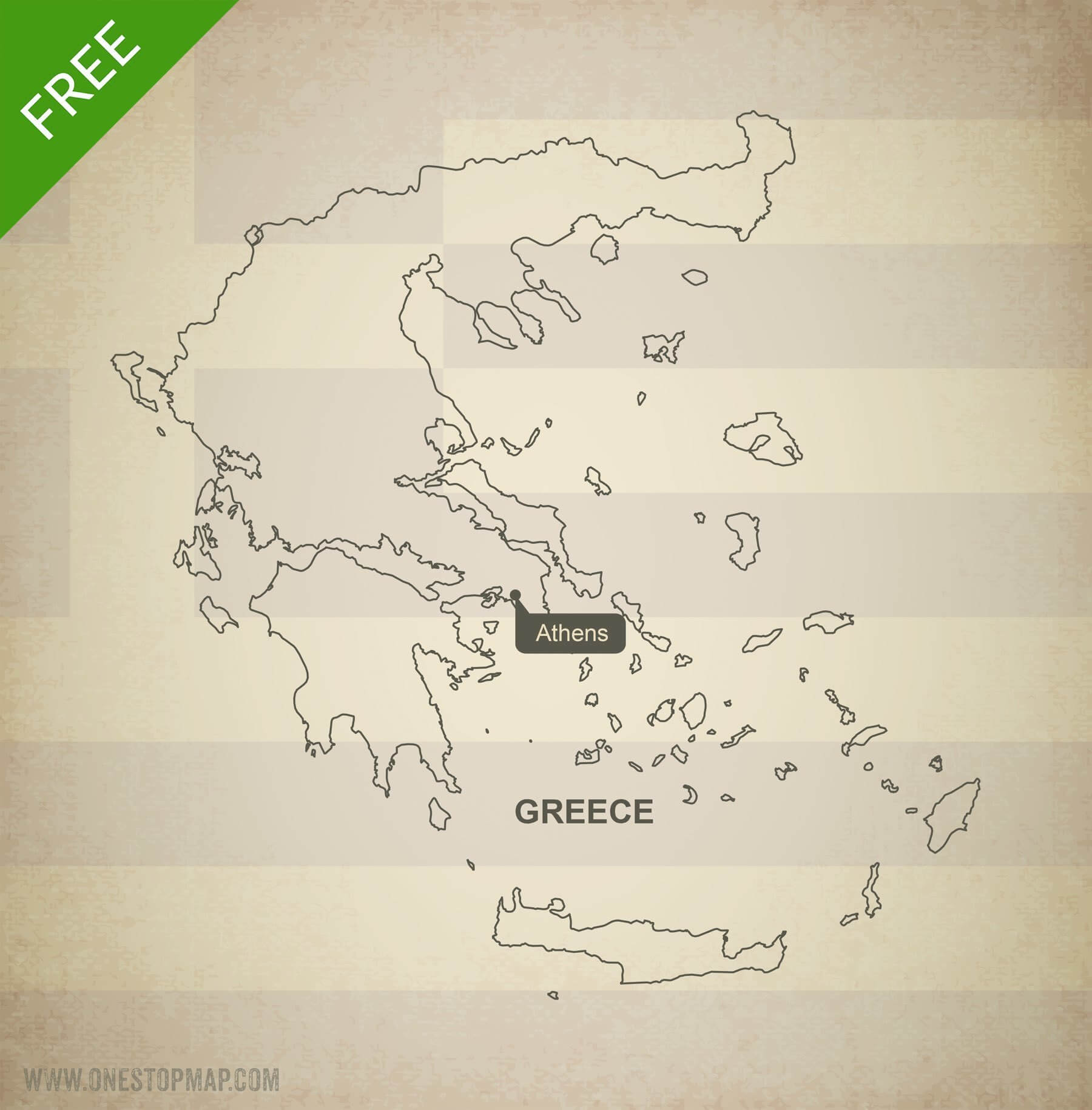 Picture of: Free Vector Map Of Greece Outline One Stop Map