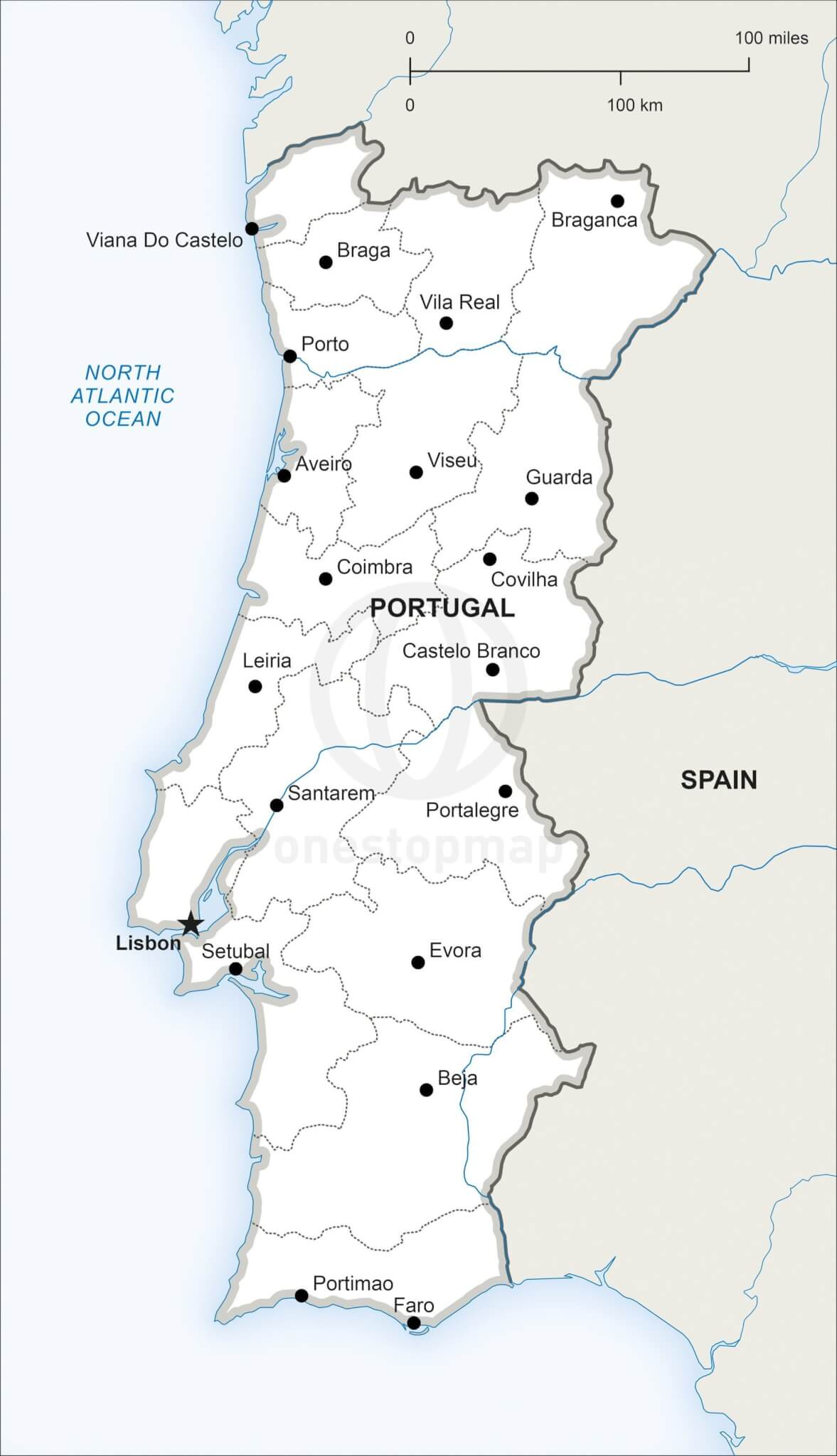 Map of Portugal political
