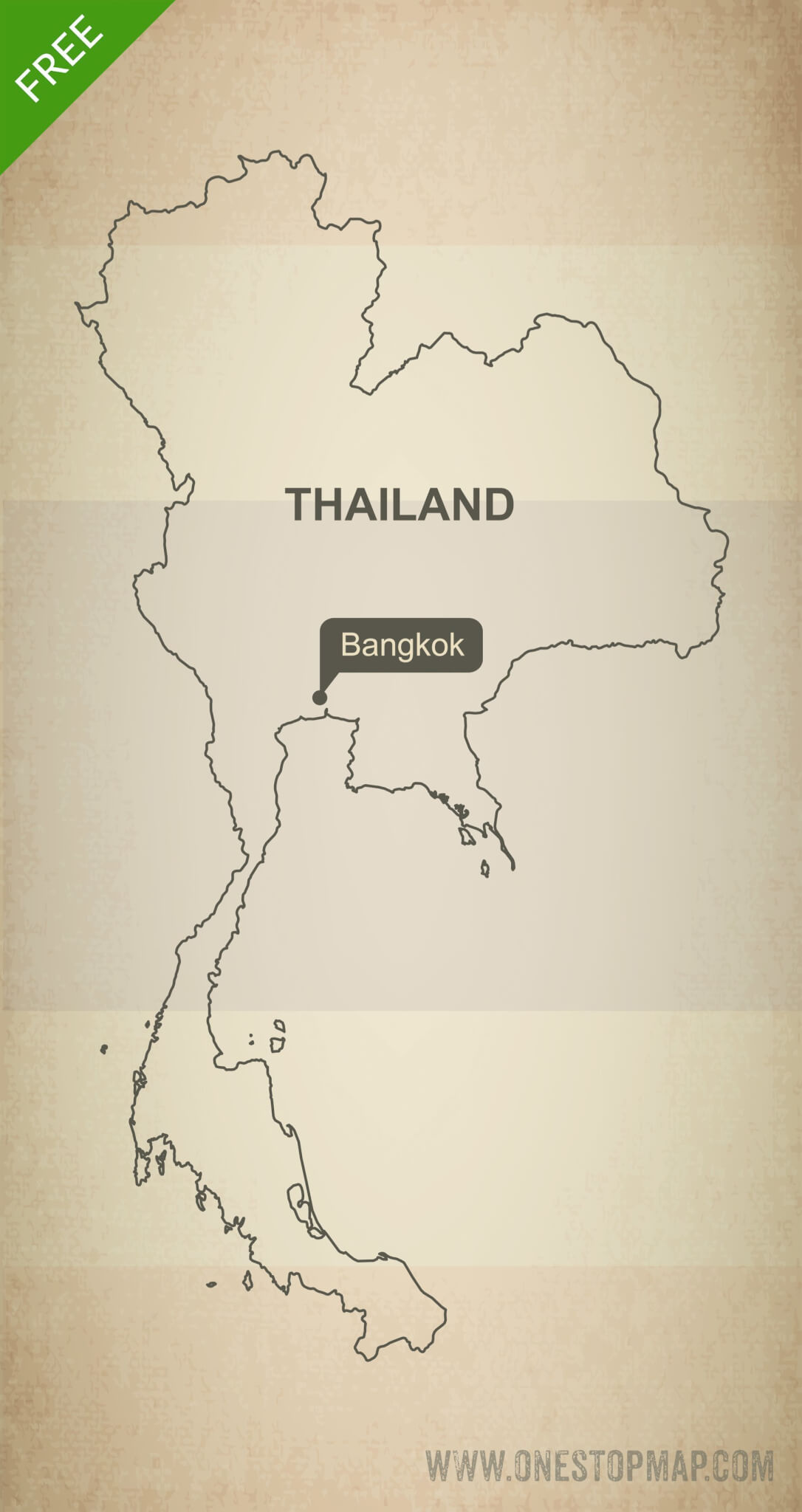 Map of Thailand outline