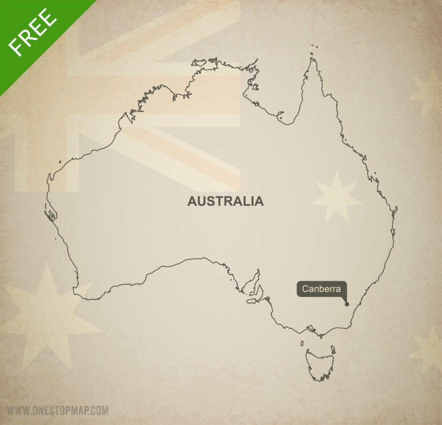 Map of Australia outline