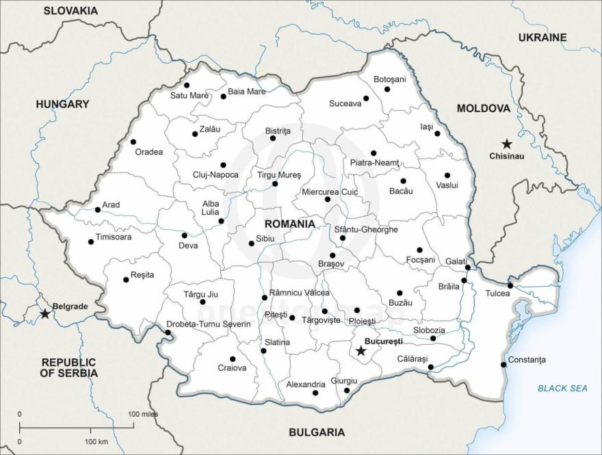 Map of Romania political