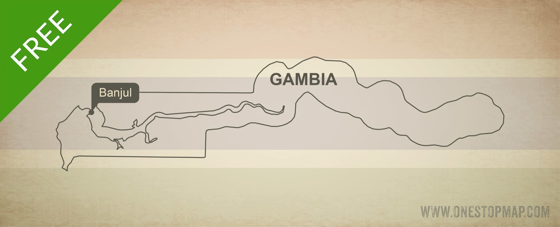 Map of Gambia outline