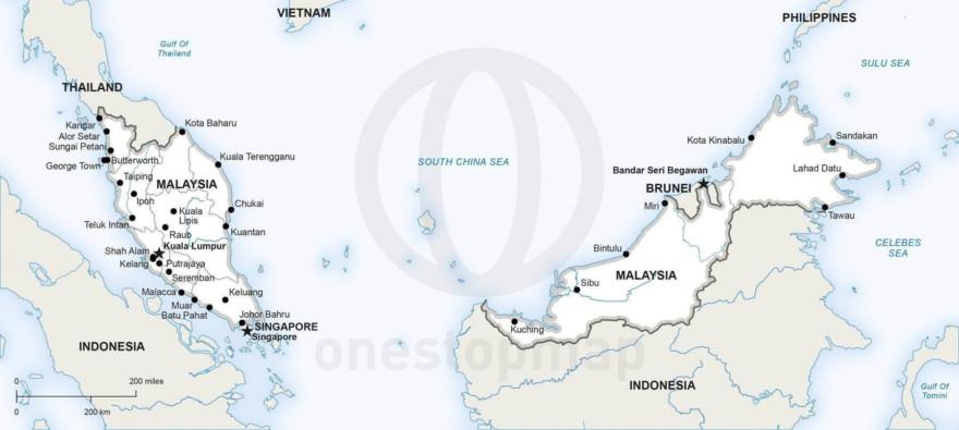 Map of Malaysia political