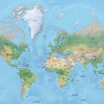 Map of World political shaded relief Mercator Europe-Africa centered