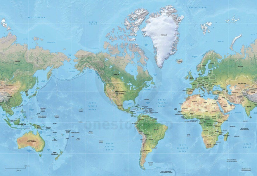 Map of World political shaded relief Mercator America centered