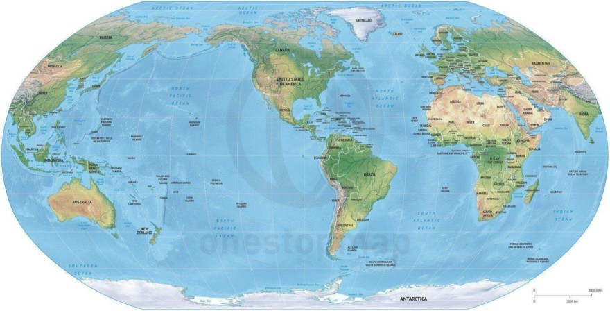 Map of World political shaded relief Robinson America centered