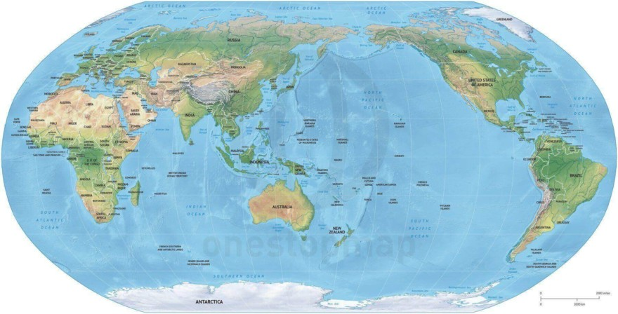 Map of World political shaded relief Robinson Asia-Australia centered