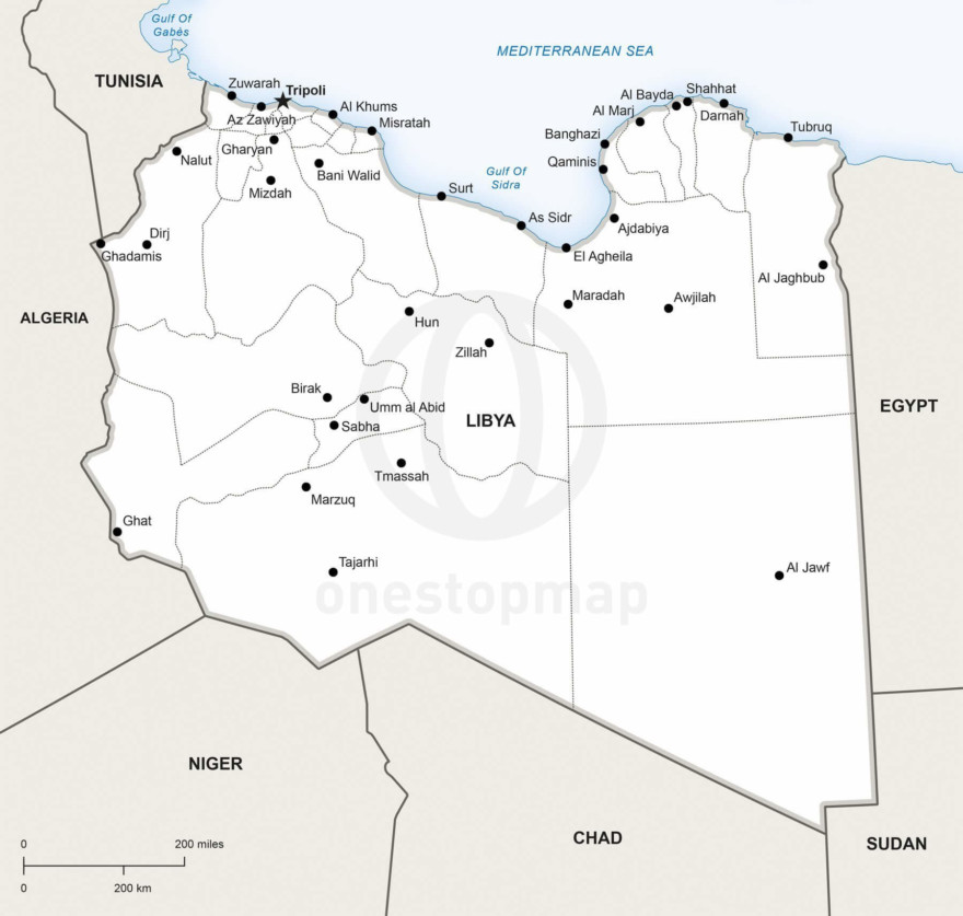 Map of Libya political