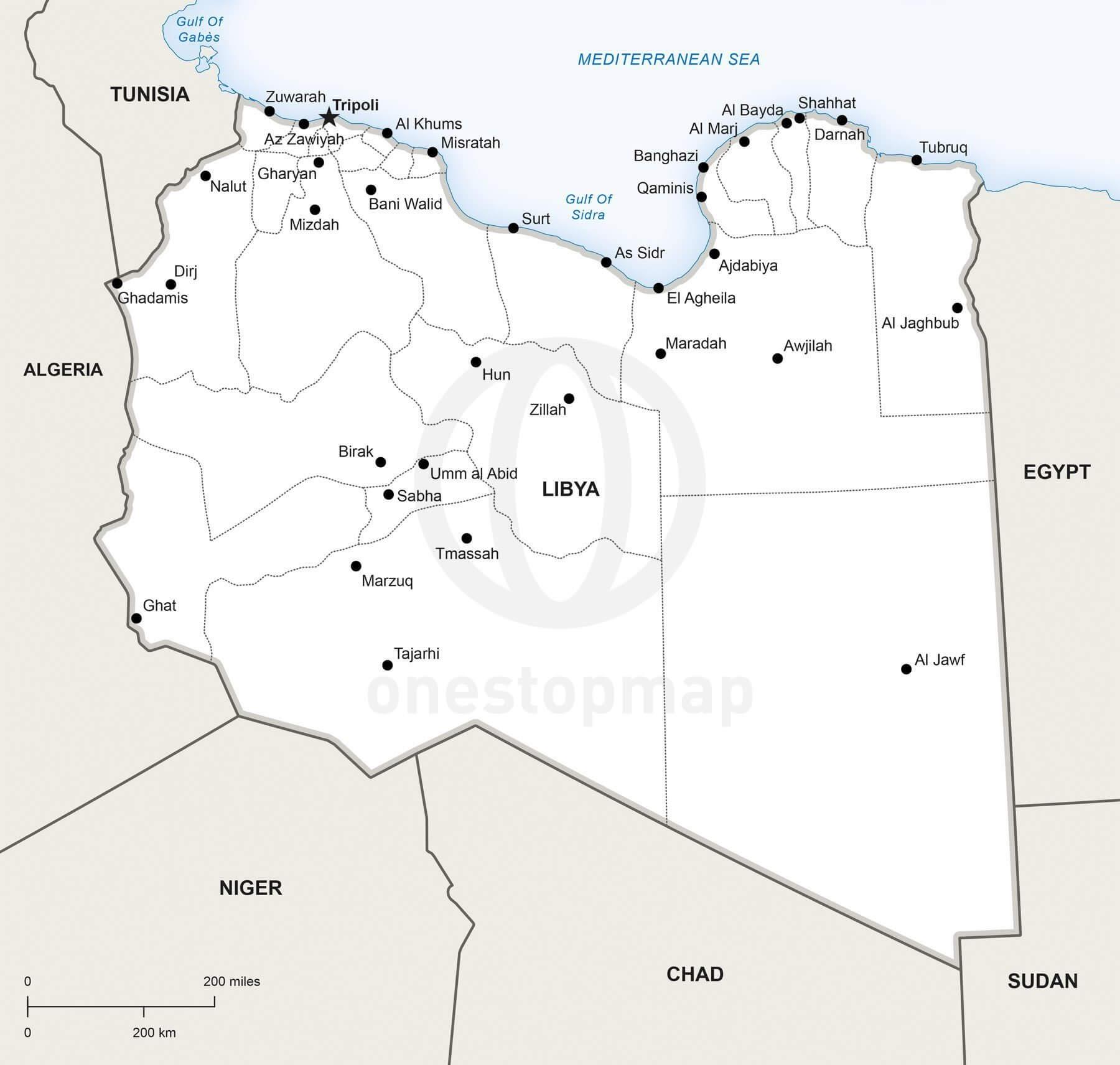 Map of Libya political