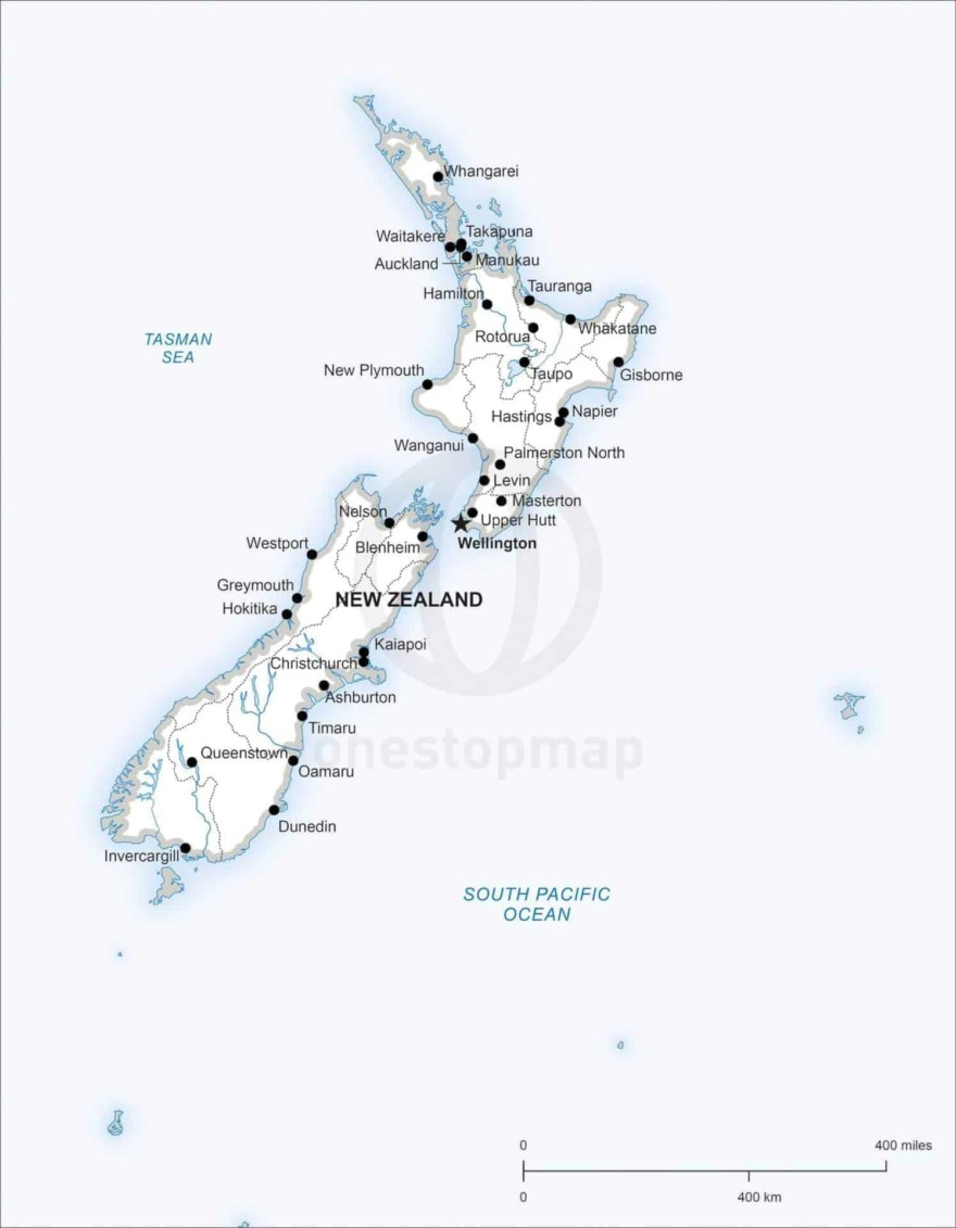 Map of New Zealand political