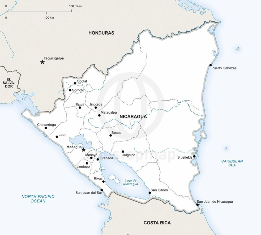Map of Nicaragua political