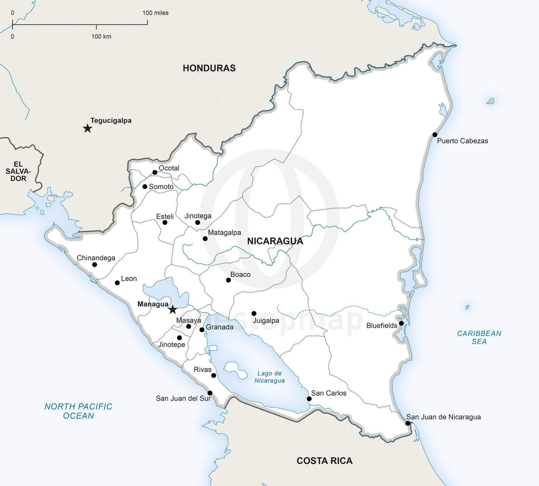 Map of Nicaragua political