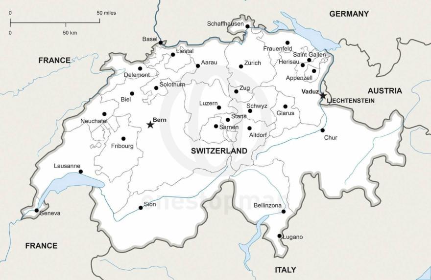 Map of Switzerland political