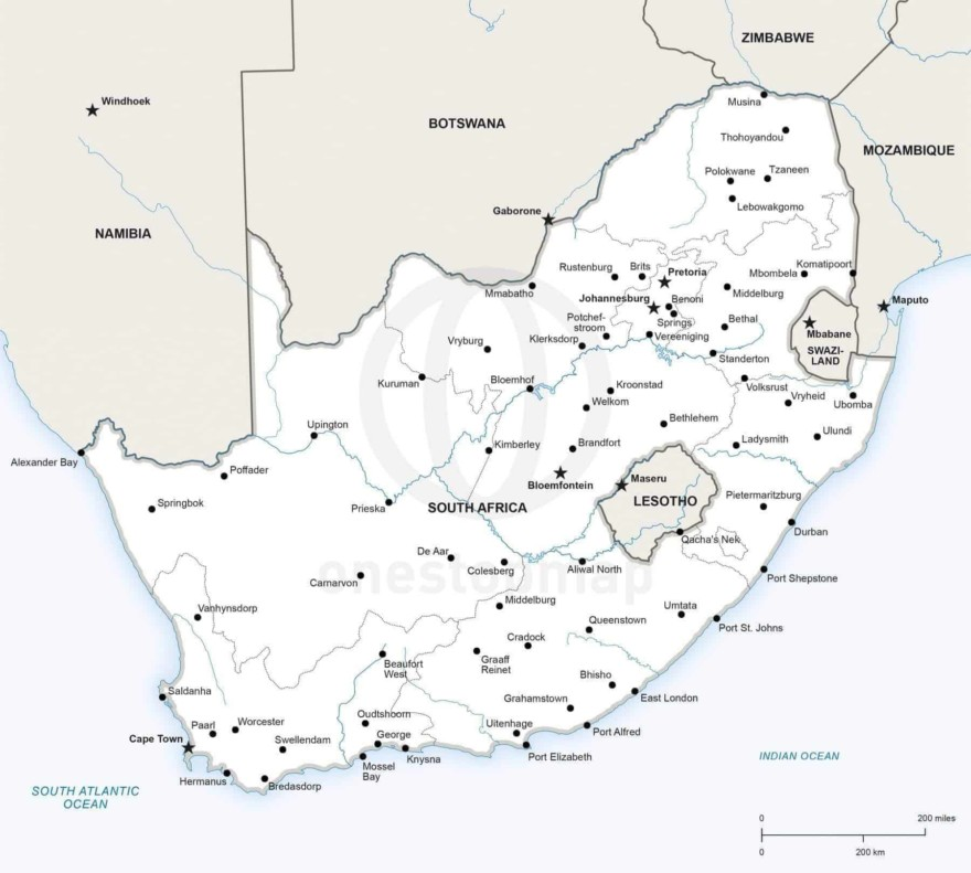 Map of South Africa political