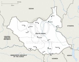 Map of South Sudan political
