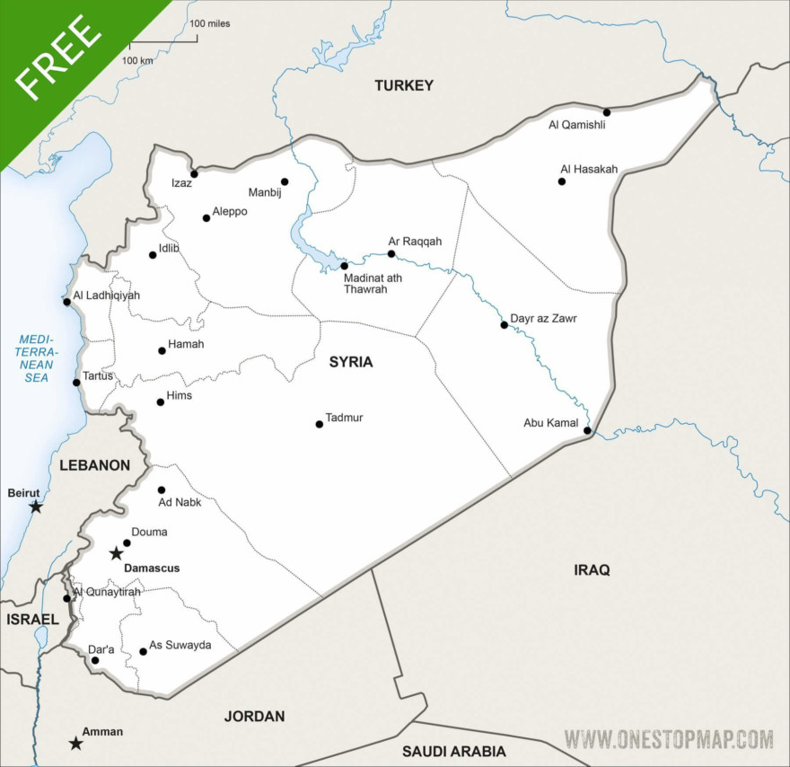 Map of Syria political