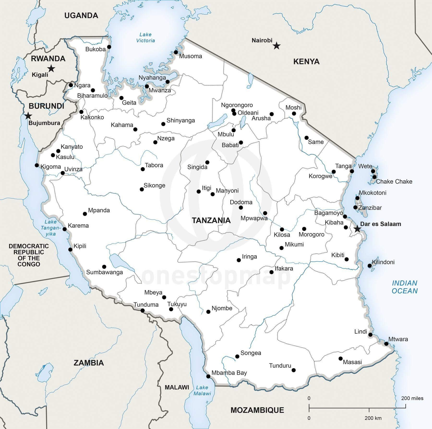 Map of Tanzania political