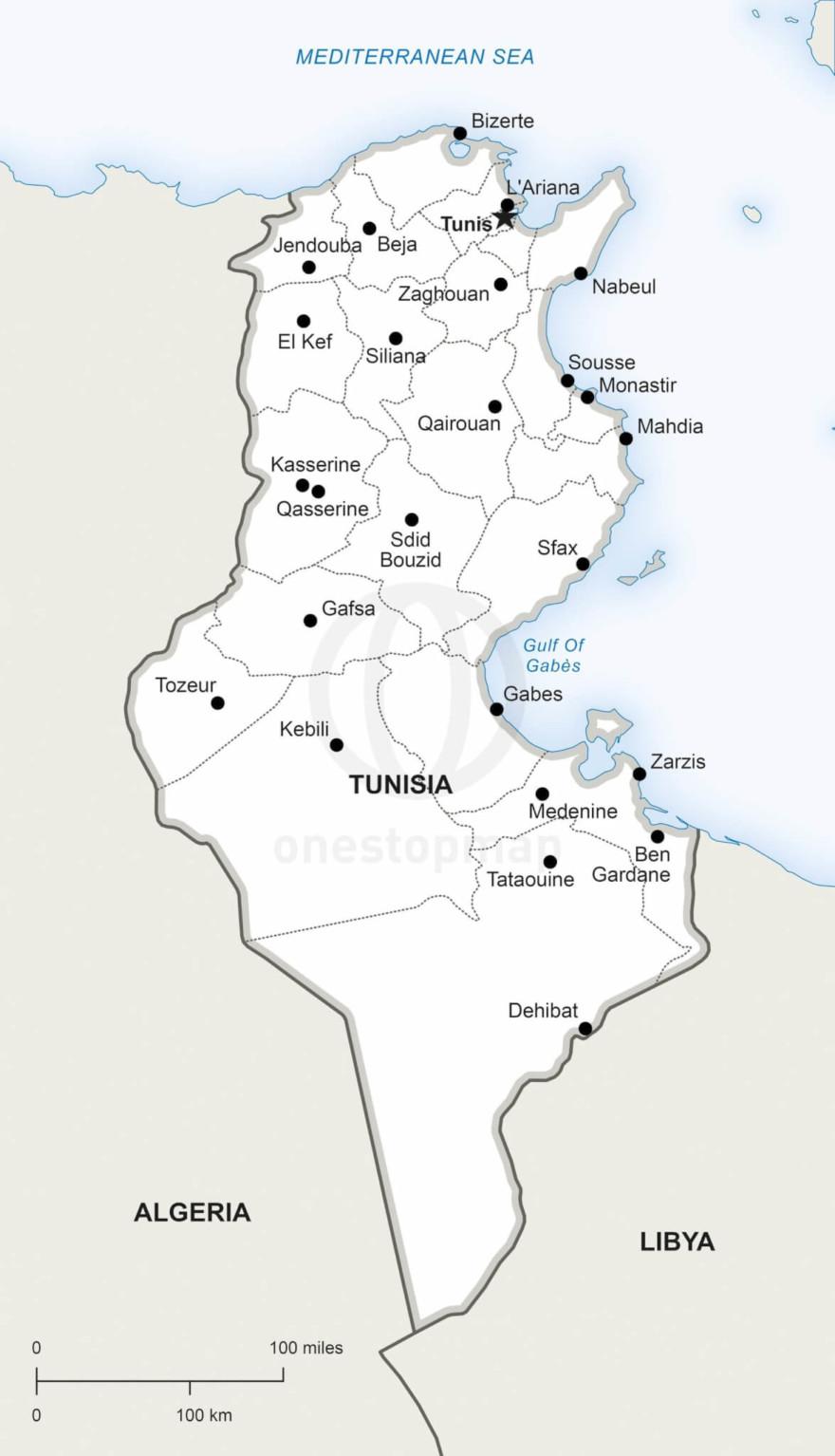 Map of Tunisia political