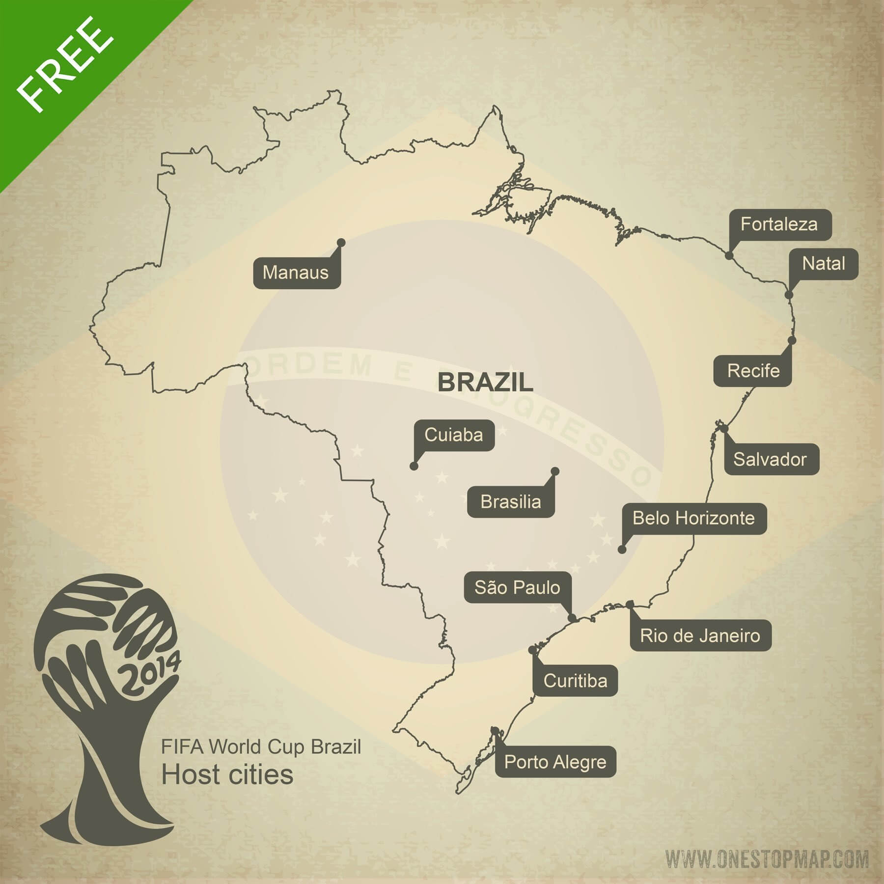 Map of Brazil outline world cup host cities 2014