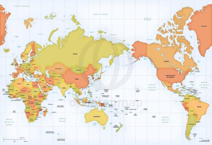 Map of World political Mercator Asia-Australia centered