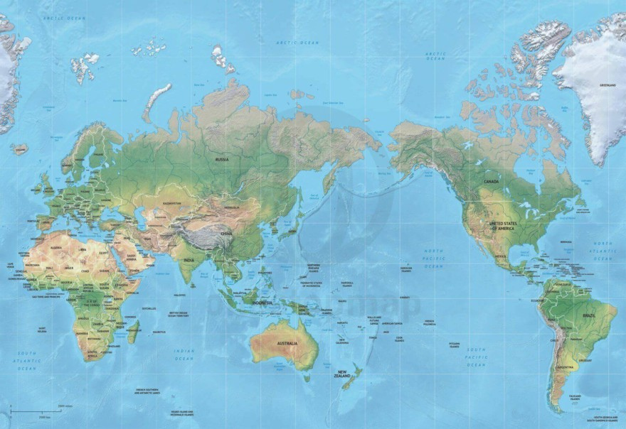Map of World political shaded relief Mercator Asia-Australia centered