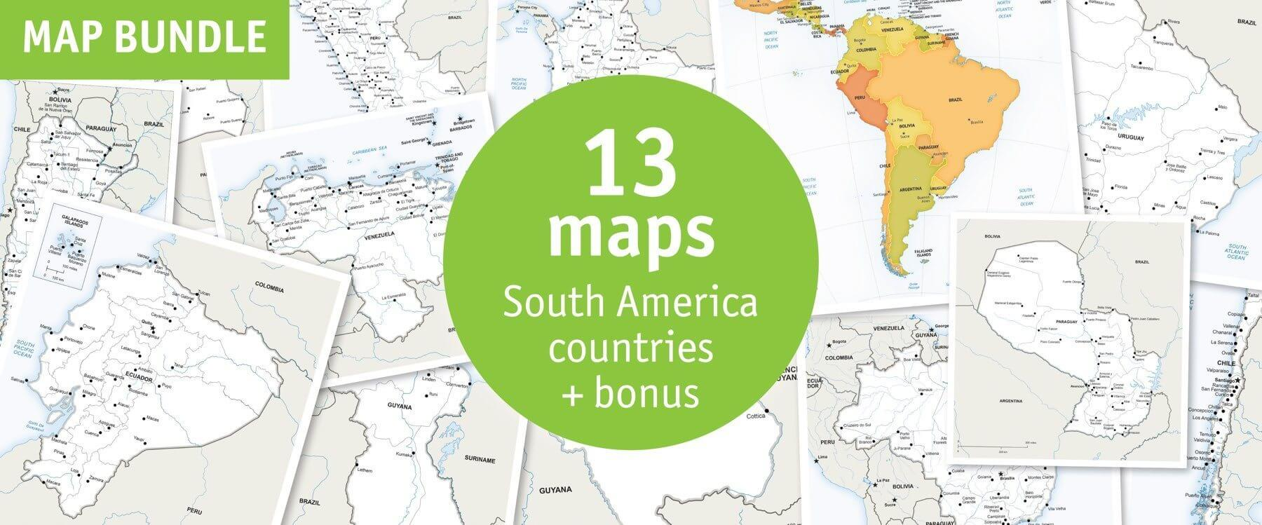 Map bundle South America countries political