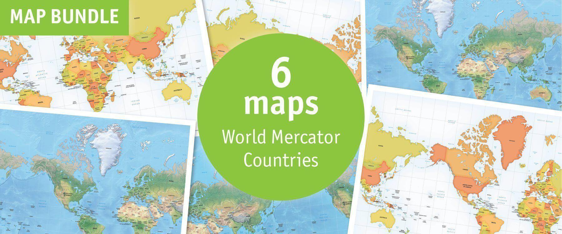 Map bundle World Mercator countries