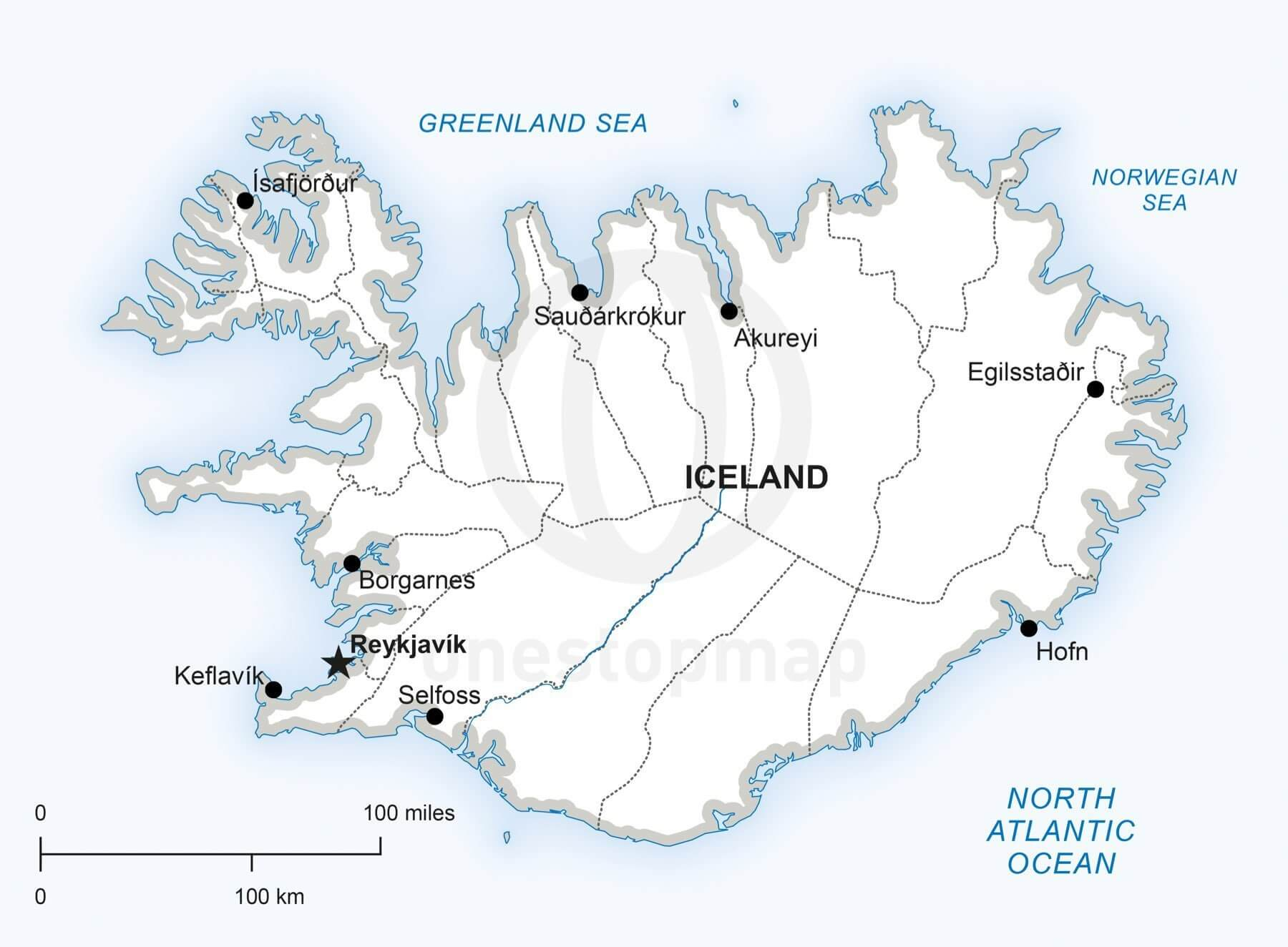 Map of Iceland political