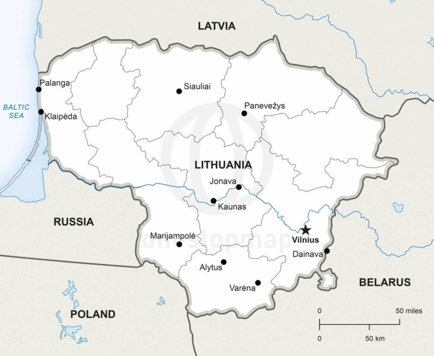 Map of Lithuania political