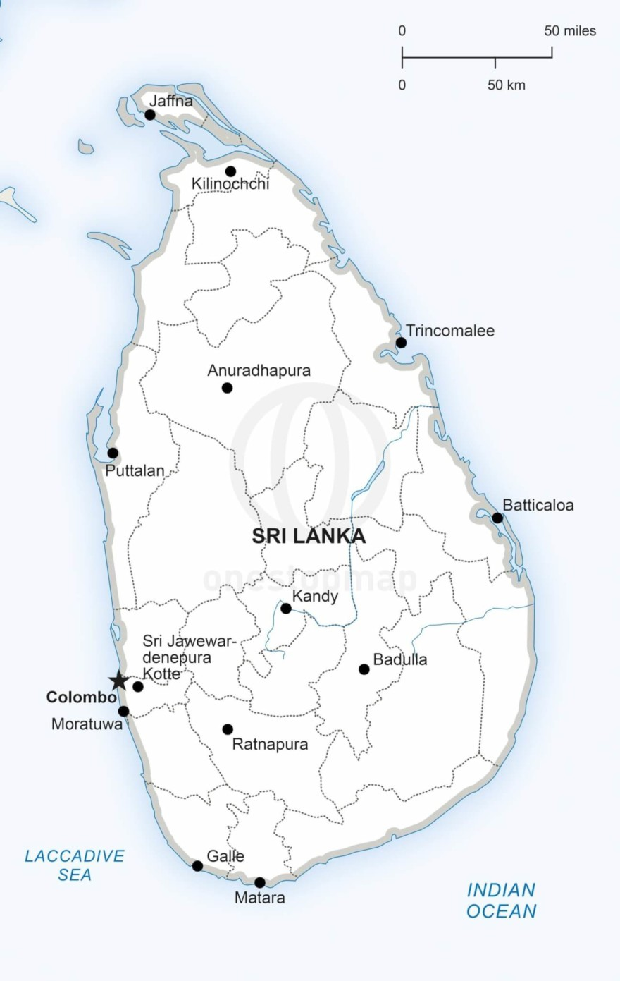 Map of Sri Lanka political