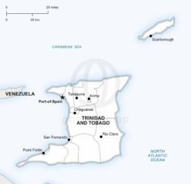 Vector map of Trinidad and Tobago political