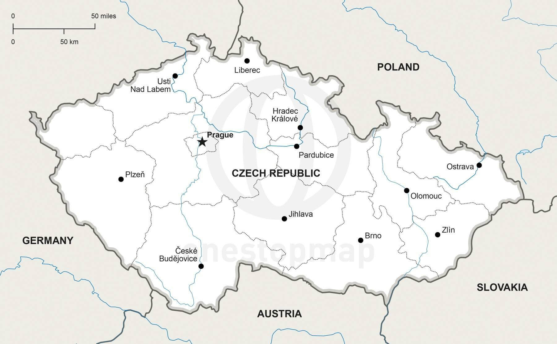 Map of Czech Republic political
