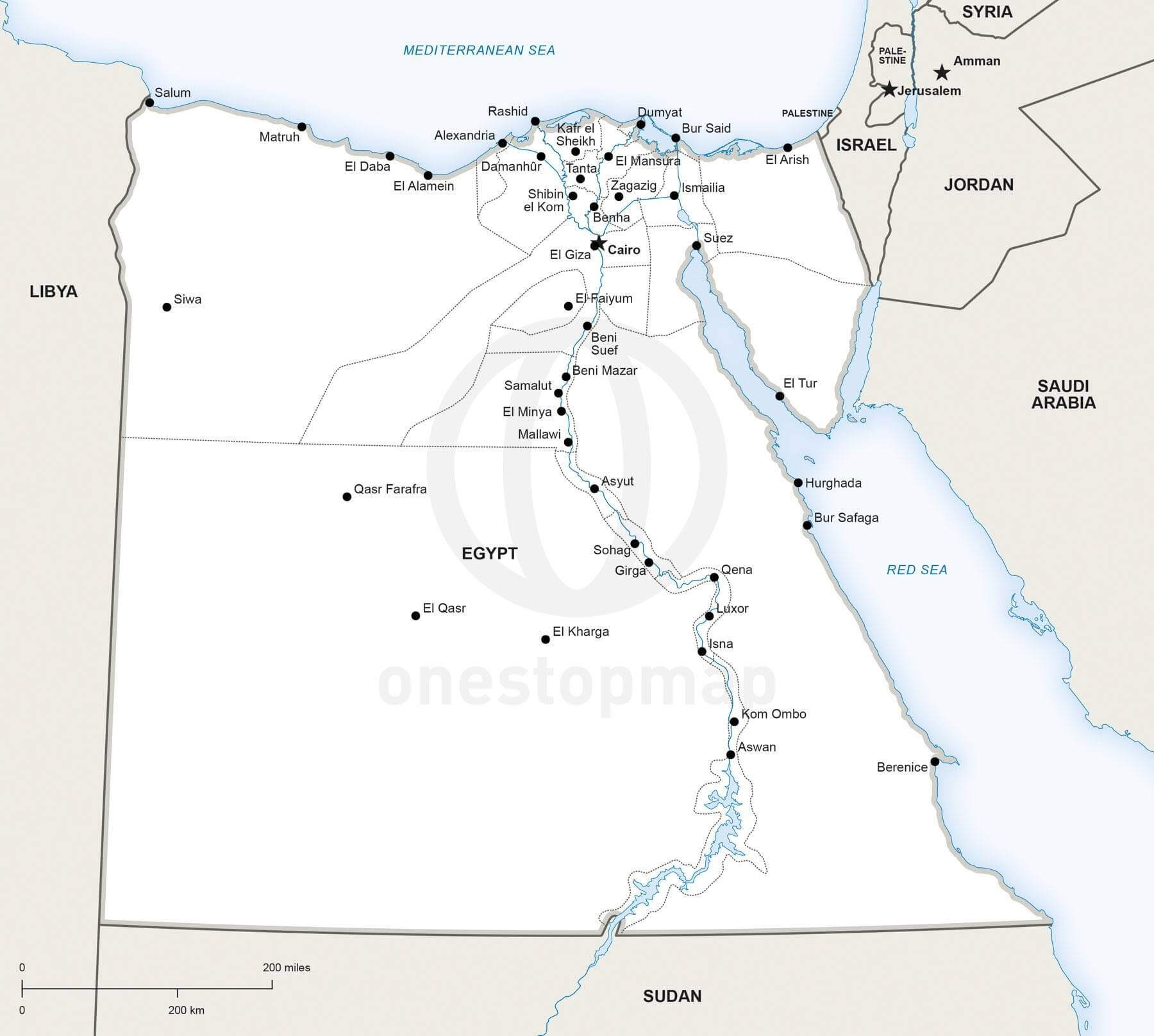 Map of Egypt political
