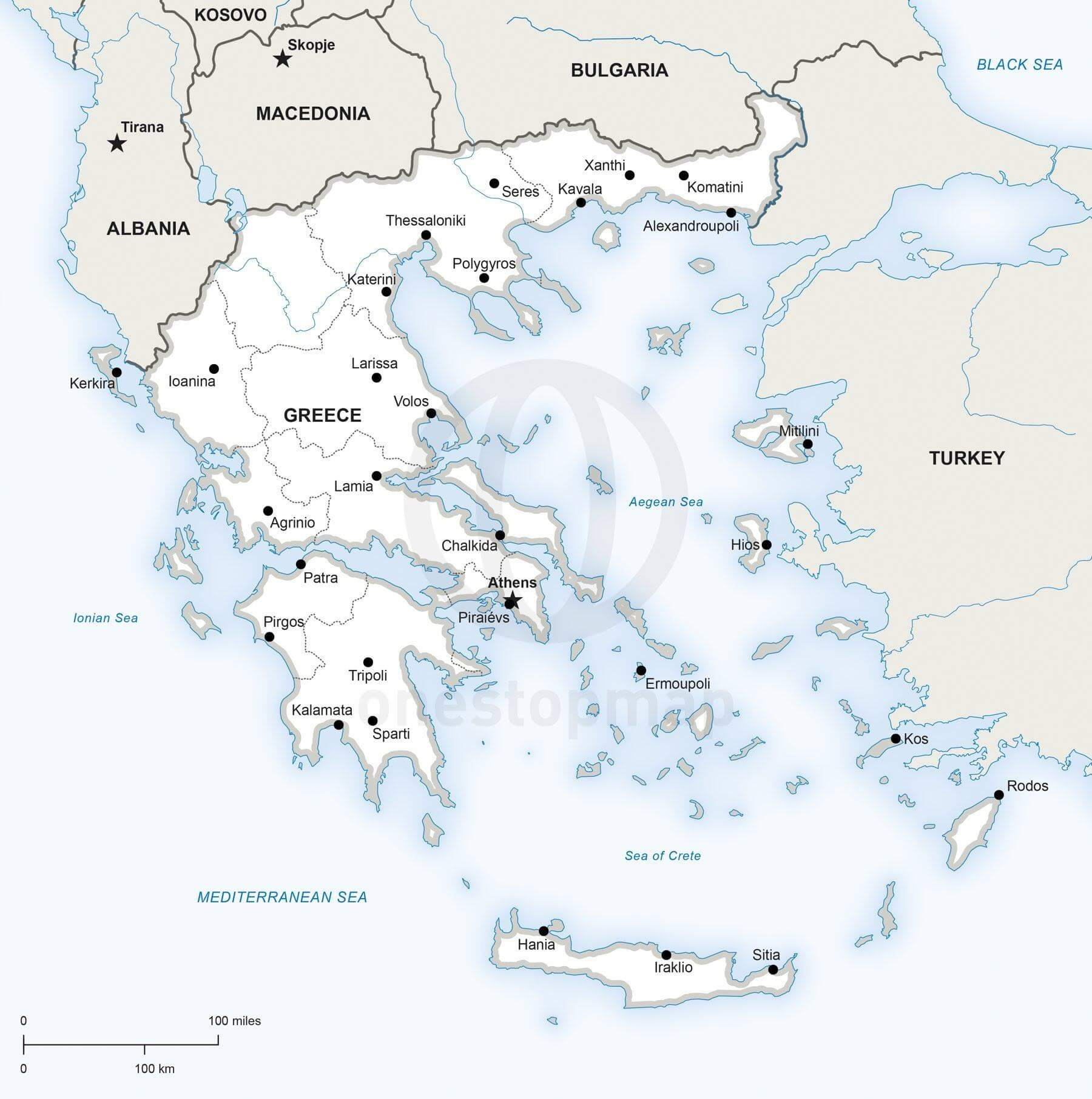 Map of Greece political