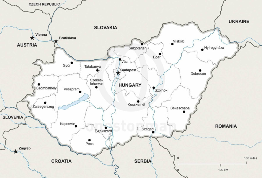 Map of Hungary political